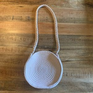 Pink woven fabric purse